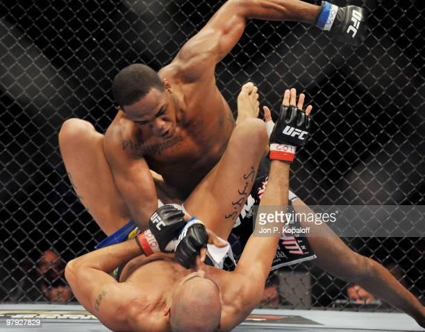 UFC fighter Jon Jones battles UFC fighter Brandon Vera during their Light Heavyweight fight at UFC Fight Night Vera vs Jones at the 1st Bank Center...