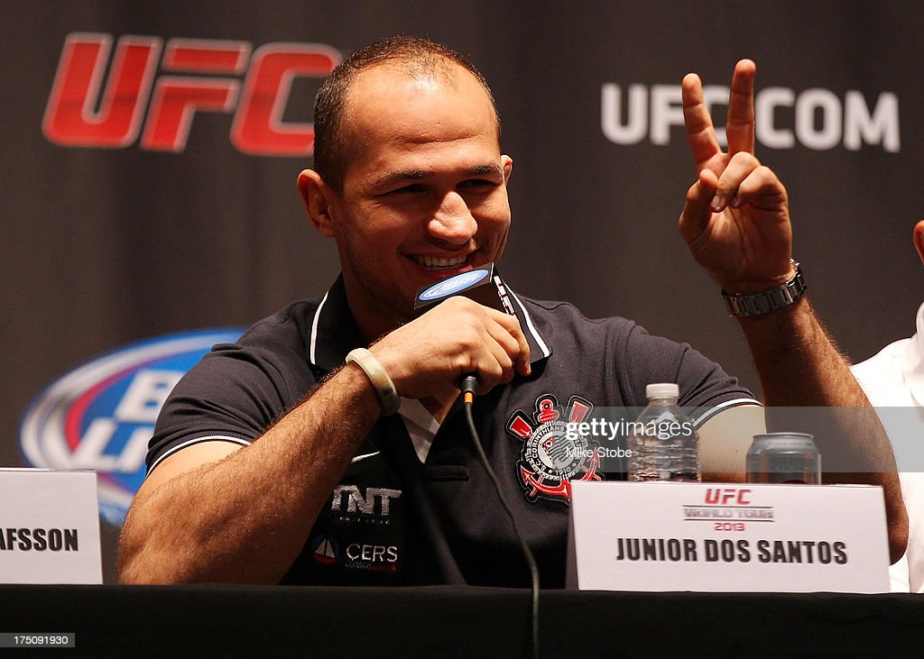 UFC fighter <a gi-track='captionPersonalityLinkClicked' href=/galleries/search?phrase=Junior+Dos+Santos&family=editorial&specificpeople=6312675 ng-click='$event.stopPropagation()'>Junior Dos Santos</a> interacts with the media during a press conference at Beacon Theatre on July 31, 2013 in New York City.
