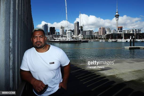 UFC fighter Mark Hunt poses for a portrait after a UFC press conference at Viaduct Basin on April 10 2017 in Auckland New Zealand