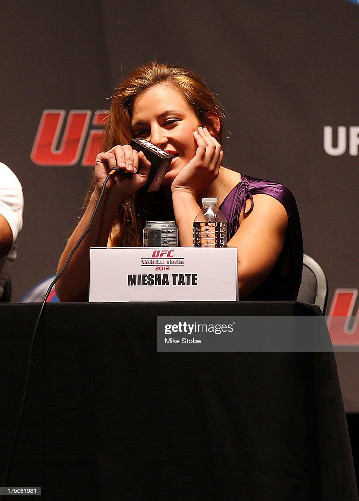 UFC fighter Miesha Tate interacts with fans during a press confernce at the Beacon Theatre on July 31, 2013 in New York City.