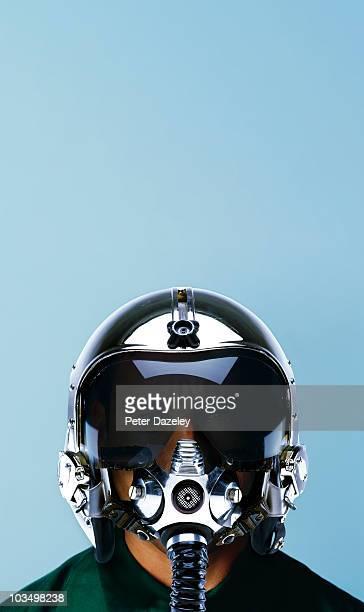 Fighter pilot in helmet