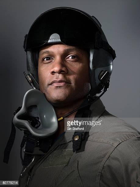 Luchador piloto retrato, primer plano