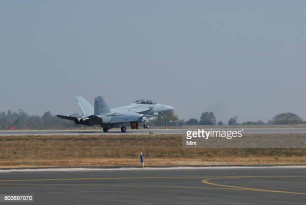 Fighter plane F18 at Aero India 2009 Asias premier air show at Air Force station Yelahanka in Bangalore Demand for Indian aerospace products and...