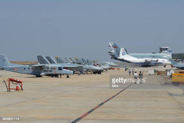 Fighter planes at Aero India 2009 Asias premier air show at Air Force station Yelahanka in Bangalore Demand for Indian aerospace products and...