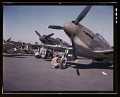 fighter planes being prepared for test flight at the field of the North American Aviation Inc plant in Inglewood California 1942