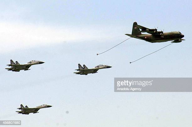 Fighter planes of Indonesia Air Force during the 69th anniversary of Indonesia Military or Tentara Nasional Indonesia on October 7 2014 in Surabaya...
