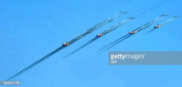 Fighter planes shoot during a military exercise at the Marshal Bagramian training grounds near the ArmeniaTurkey border in Armenia on September 19...