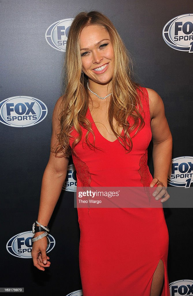 MMA fighter <a gi-track='captionPersonalityLinkClicked' href=/galleries/search?phrase=Ronda+Rousey&family=editorial&specificpeople=3009906 ng-click='$event.stopPropagation()'>Ronda Rousey</a> attends the 2013 Fox Sports Media Group Upfront after party at Roseland Ballroom on March 5, 2013 in New York City.
