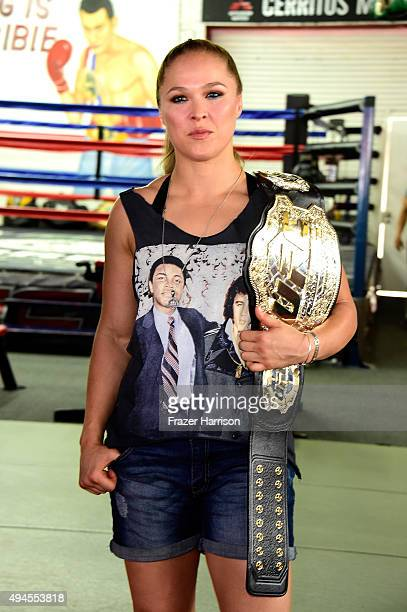Fighter Ronda Rousey Hosts Media Day Ahead of The Rousey Vs Holm Fight at the Glendale Fighting Club on October 27 2015 in Glendale California