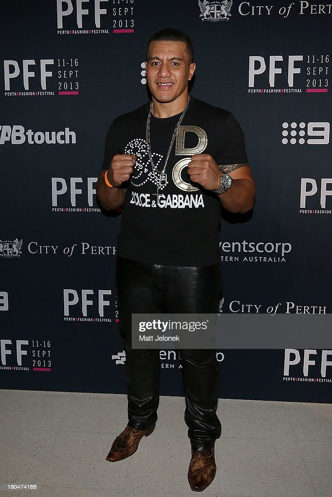 Fighter Soa 'The Hulk' Palelei attends Perth Fashion Festival at The Western Australian Museum on September 13, 2013 in Perth, Australia.