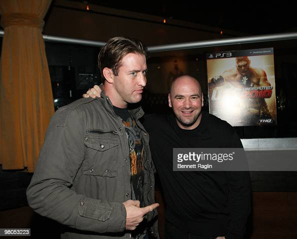 UFC fighter Stephan Bonnar and Dana White attend the New York premiere of 'UFC Undisputed 2010' at M2 Ultra Lounge on March 25 2010 in New York City