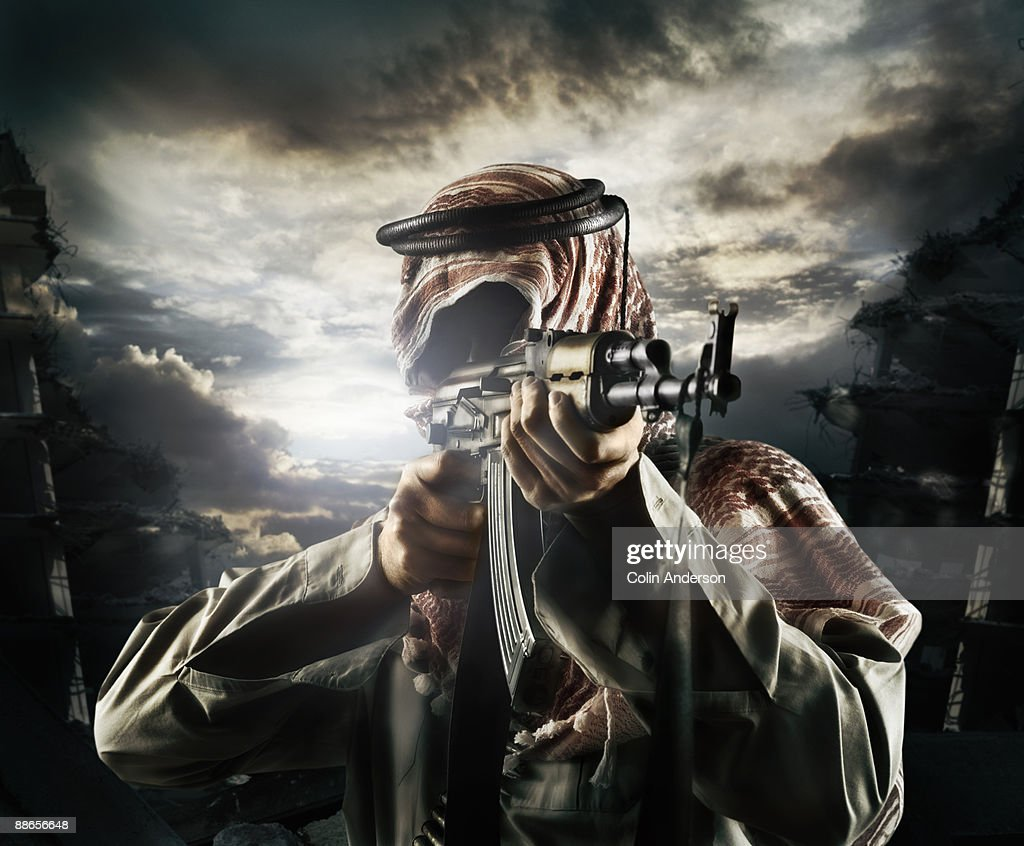 fighter taking aim : Stock Photo
