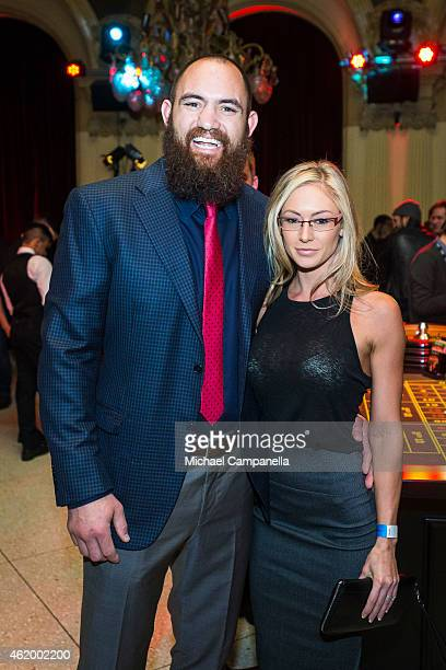 UFC fighter Travis Browne poses with his wife at a casino event at Cafe Opera in Stockholm Sweden