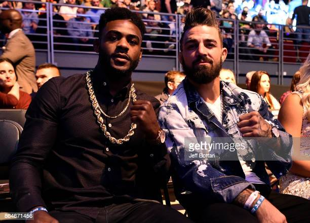 UFC fighters Aljamain Sterling and Mike Perry are seen in attendance during the UFC Fight Night event inside Ergo Arena on October 21 2017 in Gdansk...
