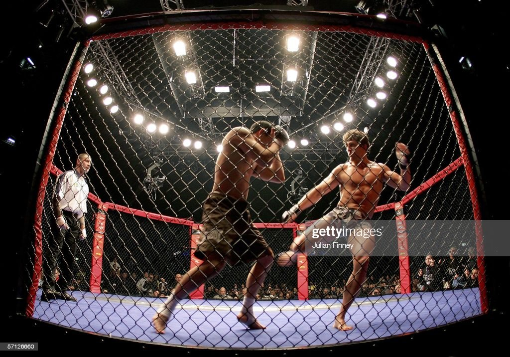 Fighters compete during the World Cage Fighting Championships at the MEN Arena on March 18 2006 in Manchester England