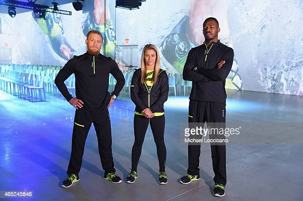 UFC fighters Conor McGregor Paige VanZant and Jon Jones attend Reebok's launch of the revolutionary new ZPump Fusion at Spring Studios on March 4...