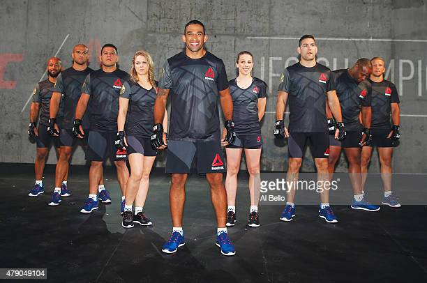 UFC fighters display the new Reebok clothing line during the Reebok Fight Kit Launch at Skylight Modern on June 30 2015 in New York City