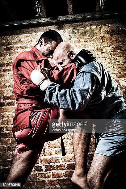 MMA fighters during combat