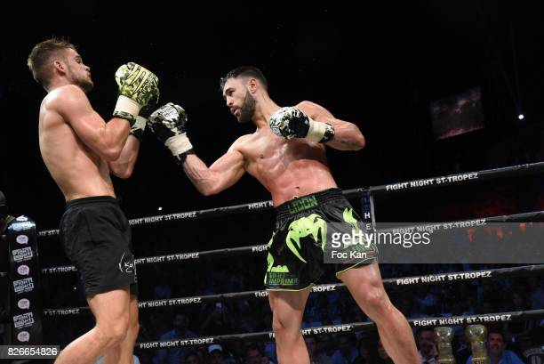 Fighters French Champion Yohan Lindon and Florian Kroger from Germany perform during the Fight Night Gala at La Citadelle de Saint Tropez on August 4...