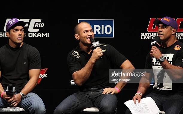 UFC fighters Lyoto Machida Junior dos Santos and Vitor Belfort attend a special QA session before the UFC 134 official weighin at HSBC Arena on...