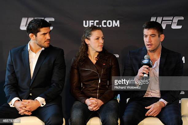 UFC fighters Sam Stout Sarah Kaufman and Patrick Cote speak to members of the media during the UFC Unveil Canadian Schedule Press Event at the Bell...