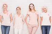 Four positive women in different age fighting against breast cancer together