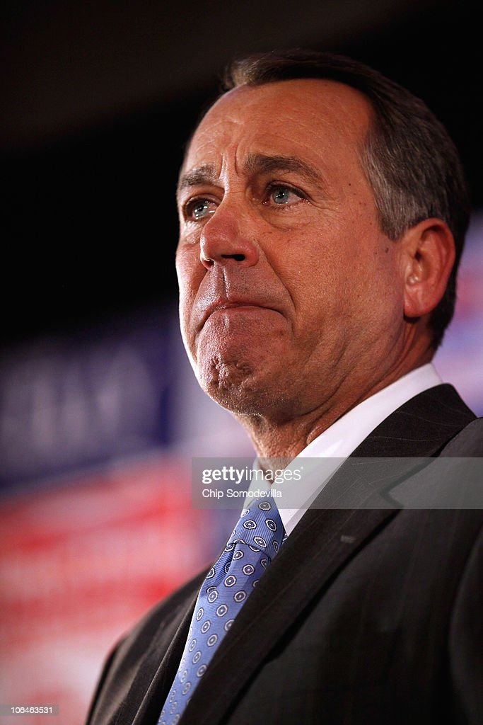 Fighting back tears as he recounted his rise from humble beginnings to the presumed Speaker of the House, House Minority Leader Rep. John Boehner (R-OH) addresses the Republican National Congressional Committee's midterm election results watch party at the Grand Hyatt hotel November 2, 2010 in Washington, DC. Major news organizations have said that the Republicans will win enough seats to take control of the House of Representatives.