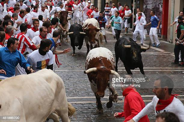 Fighting bulls from the ranch of Victoriano Del Rio Cortes run along the Curva de Estafeta during the fourth day of the San Fermin Running Of The...