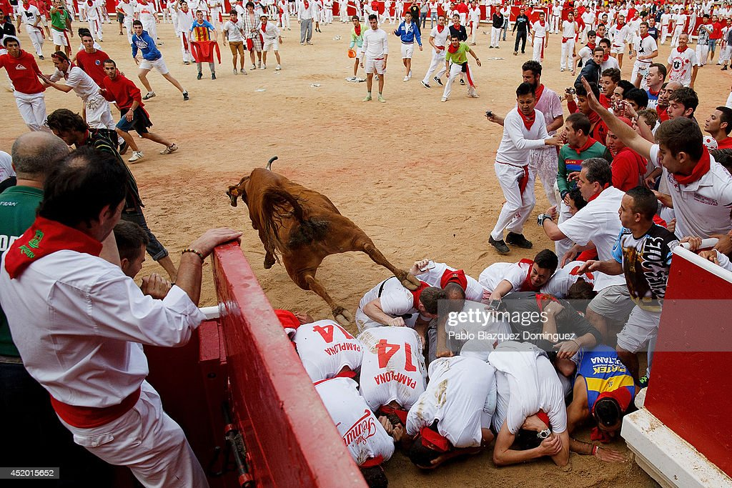 A fighting calf jumps over revellers inside the bullring during the sixth day of the San Fermin Running Of The Bulls festival on July 11, 2014 in Pamplona, Spain. The annual Fiesta de San Fermin, made famous by the 1926 novel of US writer Ernest Hemingway 'The Sun Also Rises', involves the running of the bulls through the historic heart of Pamplona.
