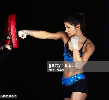 fighting exercising woman