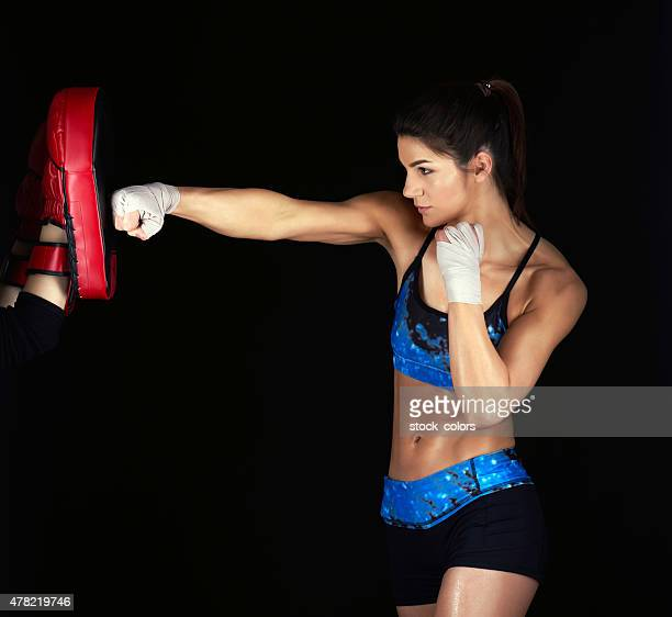 fighting exercising woman