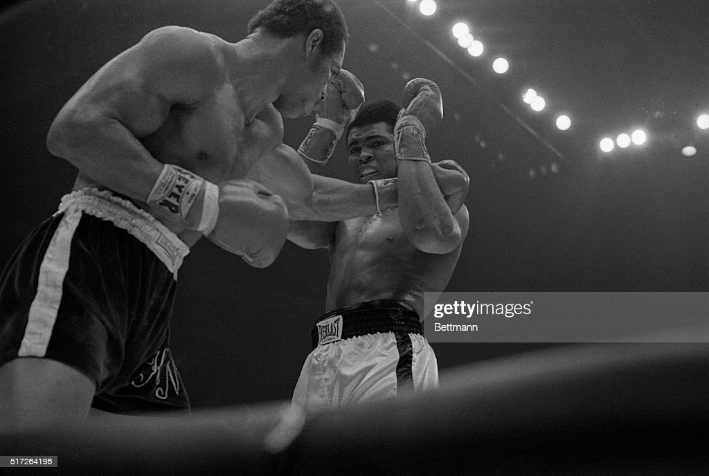 Fighting with a broken jaw boxer Muhammed Ali attempts to protect his face as boxer Ken Norton punches him during the 1973 heavyweight title fight. Norton eventually won the match.