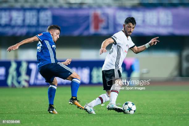 fights for the ball with FC Schalke Forward Donis Avdijaj during the Friendly Football Matches Summer 2017 between FC Schalke 04 Vs Besiktas Istanbul...
