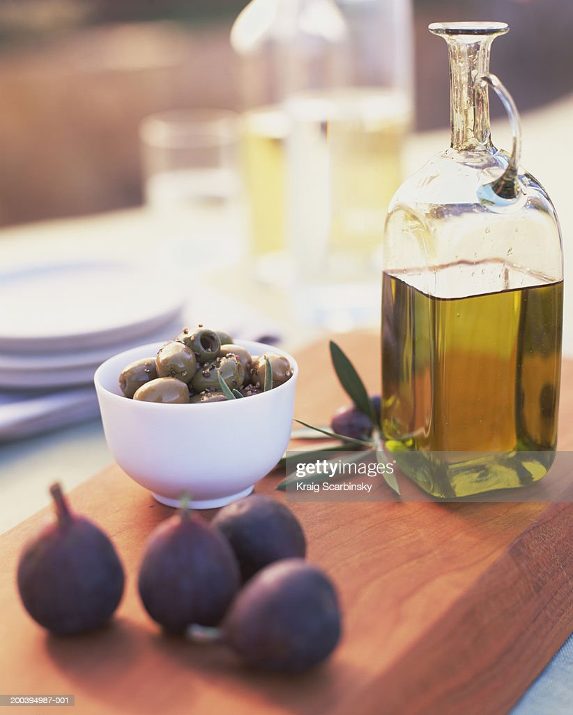 Figs, olives and olive oil : Stock Photo
