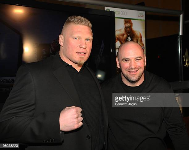 UFC figther Brock Lesnar and Dana White President of UFC attend the New York premiere of 'UFC Undisputed 2010' at M2 Ultra Lounge on March 25 2010 in...