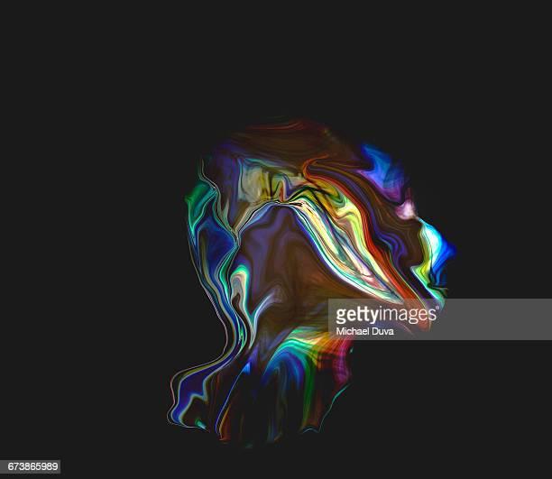figurative light painting resembling digital head
