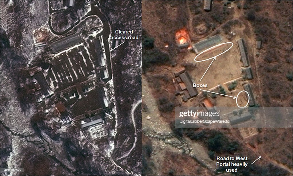 Figure 1 is DigitalGlobe Imagery from April 6th 2014 and April 19th 2014 shows increased activity at the Main Support Area of North Koreas Punggye-ri Nuclear Test Site. Left Side: April 6, 2014, Right Side: April 19, 2014. Published on 38 North