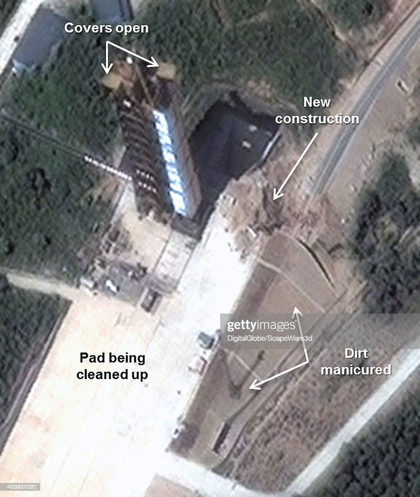 Figure 1-B. Construction at the western end of the launch pad shows rail tunnel work and clean up. Note: image rotated. Date: August 8, 2014. Analysis published on 38 North.