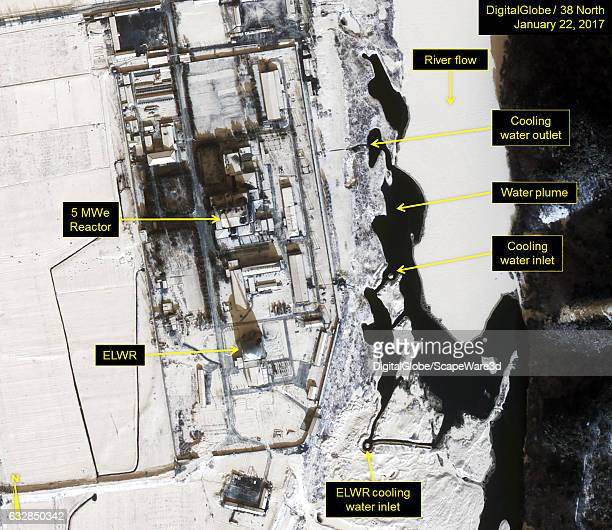 Figure 2 Water plume originating from the 5Mwe Reactor cooling water outlet Date January 22 2017 Mandatory credit for all images DigitalGlobe/38...