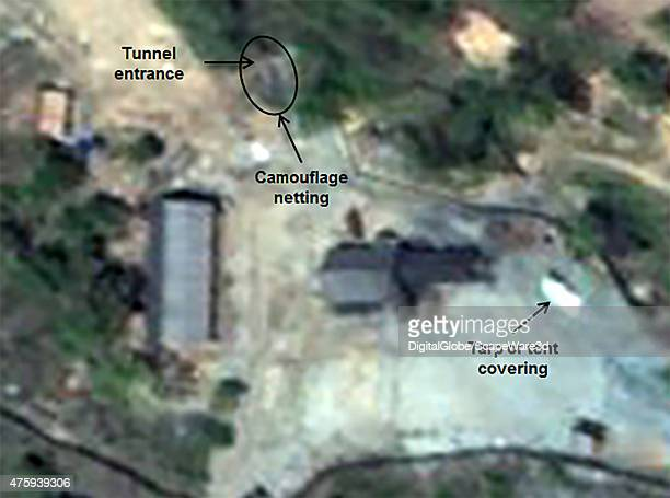 Figure 2b Camouflage covers the West Portal tunnel entrance at the Punggyeri Nuclear Test Site in North Korea