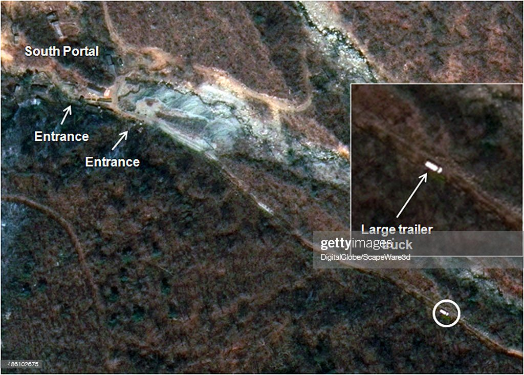 Figure 4 is DigitalGlobe Imagery from April 19th, 2014 and clearly shows a Large Trailer Truck Seen Leaving the South Portal Area of North Koreas Punggye-ri Nuclear Test Site. Published on 38 North