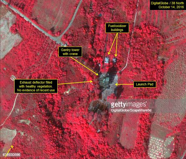 Figure 4b Color infrared image of existing launch pad Credit DigitalGlobe/38 North
