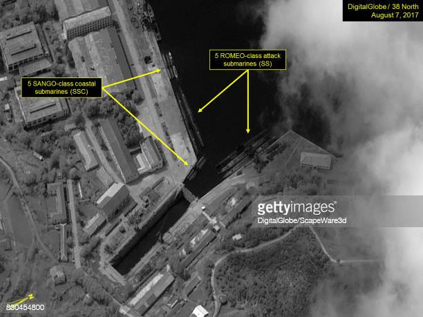 Figure 6 Multiple SANGO and ROMEOclass submarines berthed in the Mayangdo Navy Shipyard Mandatory credit for all images DigitalGlobe/38 North via...