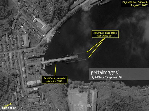 Figure 7 One SANGOclass and three ROMEOclass submarines berthed at the south pier of the Mayangdo Submarine Base Mandatory credit for all images...