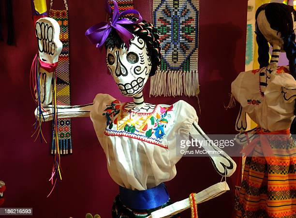 A figure in the 'Celebrating Life' display at the Mexican Cultural Center's Día de Muertos exhibit on Monday October 21 2013 The exhibit portrays a...