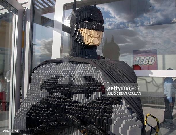 A figure made with bricks is seen outside the Lego company in Monterrey Mexico on October 21 2015 LEGO Group plans to expand and invest in factories...