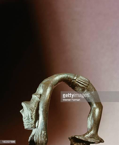 Figure of a backward bending goddess From a cult boat Denmark Pre Viking Bronze Age Grevensvaenge