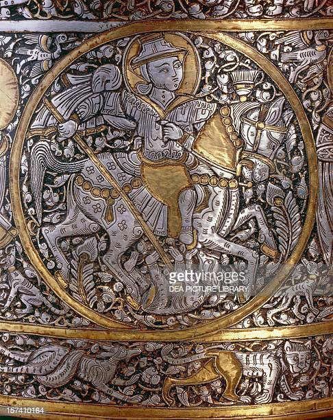 Figure of a knight detail from St Louis' basin or baptismal font signed Ibn Zayn brass silver and gold Egypt or Syria 13th century Paris Musée Du...