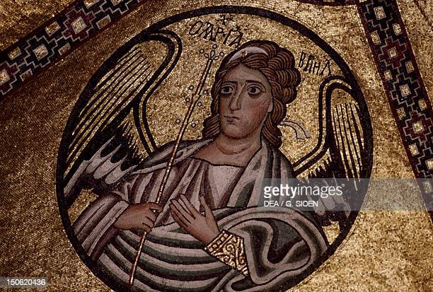 Figure of an angel mosaic inside Hosios Loukas Monastery Greece founded in the early 10th century