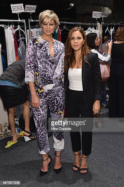 Figure skater Analeigh Tipton and designer Monique Lhuillier pose backstage at Monique Lhuillier Spring 2016 during New York Fashion Week The Shows...